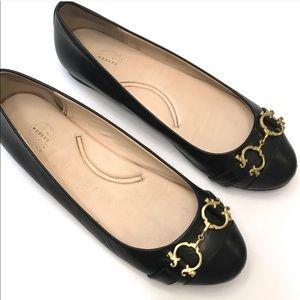 C. Wonder Black Leather Gold Buckle Ballet Flats